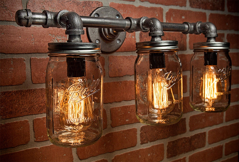 Mason Jar Light Fixture - Industrial Light -Light - Rustic Light - Vanity Light - Wall Light ...