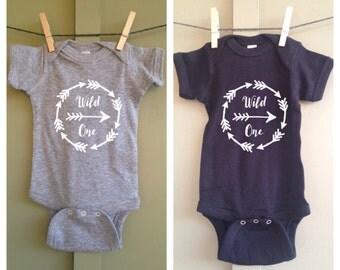 Wild One Infant Onesie, Hipster, Black, White, Gray, Short Sleeve, Gift, Arrows