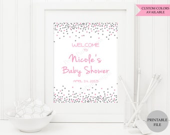 Baby Shower welcome sign (PRINTABLE FILE) - Baby shower sign - Baby shower printables - Pink and silver baby shower