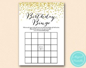 Birthday Gift bingo game, Birthday Girl bingo cards, Printable Gold Confetti Birthday Party Game BPT05  BP46