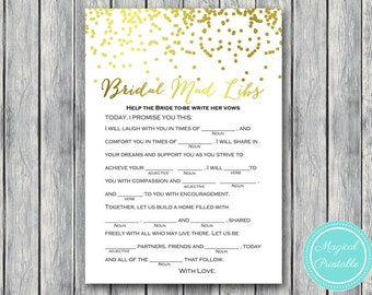 Bridal Mad libs, help bride write her vows, Gold Confetti Bridal Shower, Gold foil Bachelorette, Wedding Shower BS87
