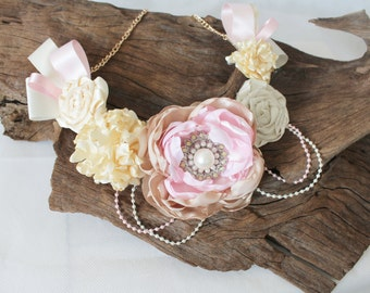 Pink and cream flower necklace