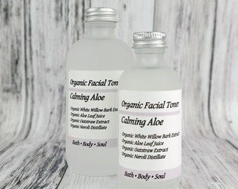 OPPS SALE! Calming Aloe Facial Toner • Organic • Vegan • Soothing Facial Care • Infused with Aloe and White Willow Bark • Make Up Remover •