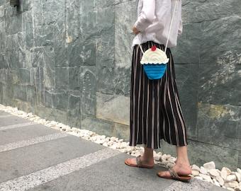 FREE SHIPPING,Cup Cake Cross-Body Bag, Cotton Yarn Crochet Shoulder Bag,Food Bag,Handknit Shoulder Bag,Crochet Crossbody Bag,Funny Bag
