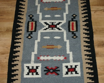 Navajo inspired hand woven rug, tapestry or saddle blanket