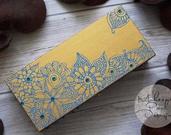 Golden Yellow Wooden Trinket Box/Keep Sake Box