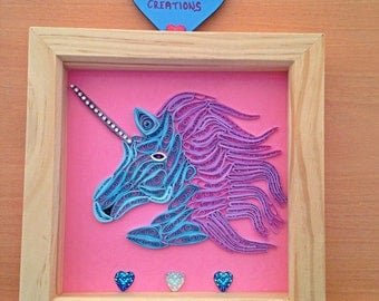 Quilled paper unicorn, framed picture