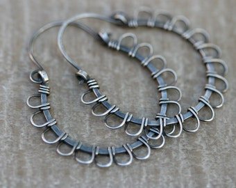 Rustic Sterling Silver  Artisan Floral Hoops earrings a61- artisan hoops . embroidery hand woven . loops petals hoops . serling medium hoop