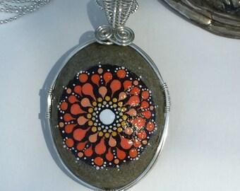 Chakra Necklace - Sacral / Naval Chakra Mandala - Hand Painted Sacral Chakra Pendant - Spiritual Necklace