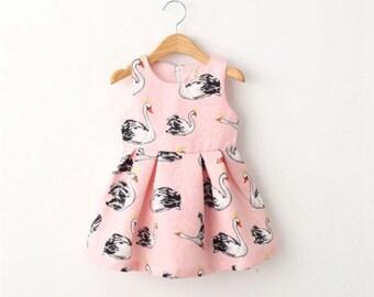 Swan pink dress, girls swan dress,girl birthday dress, girl couture headband,