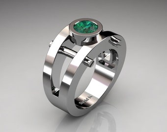 Mens Modern 14K White Gold 1.0 Ct Emerald Ring R1049-14KWGEM