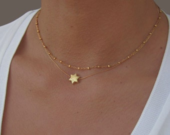 Star Necklace, Satellite Necklace, Layered Necklace, Gold Star Necklace, Everyday Necklace, 14K Gold Necklace, Satellite Chain Necklace.