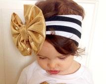 Floppy bow headband; Gold floppy bow on black and white turban style headband; messy bow headband; baby headwrap; baby, toddler, or girl