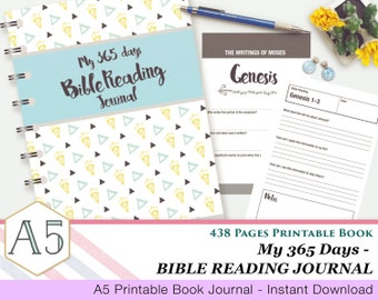My 365 Days Bible Reading Journal - Printable Book - 438 Pages - A5