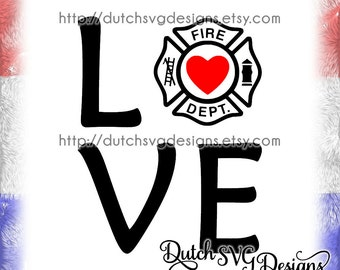 Text cutting file Love Fire Department, in Jpg Png Studio3 SVG EPS DXF, for Cricut & Silhouette, firefighter, fire dept station, vector diy