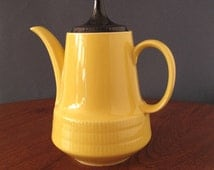 1970s CP Annaburg Sintolan coffee pot yellow with black lid, CP Annaburg Sintolanwerke, GDR