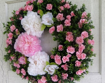 Pink and White Peony Wreath, Pink Rose Wreath, Boxwood Wreath, Front Door Wreath, Summer Wreath