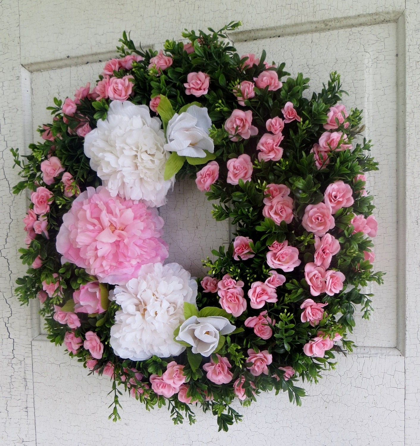 Summer front door wreaths - Pink And White Peony Wreath Pink Rose Wreath Boxwood Wreath Front Door Wreath Summer Wreath