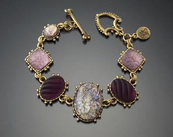 Vintage Amethyst Precosia and Matt Crystal Charm Bracelet