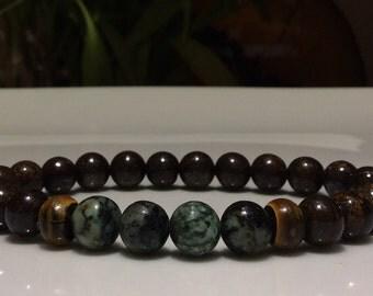 Mens beaded Bracelet, African Turquoise & Bronzite  Gemstone Beaded bracelet, Gemstone beads, Bone beads