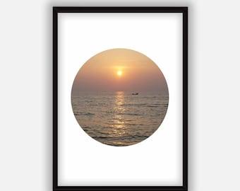 Sea sunset wall art Printable poster Circle print Digital Orange Landscape photography  Instant Download.