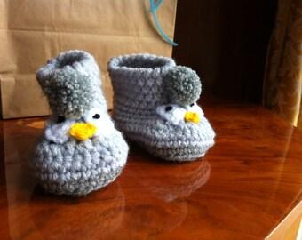 Baby booties, crochet made Penguin chick