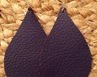 Leather Earrings Teardrop Purple