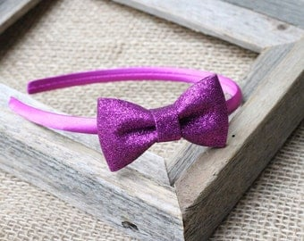Purple hard headband purple glitter bow, toddler headband girls headband sparkle bow first birthday
