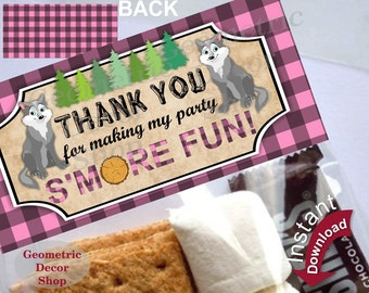 Printable Treat Bag toppers Lumberjack Birthday Party First birthday Lumber Jack Pink Plaid s'more Instant Girl Wolf Woodland TBLJ4