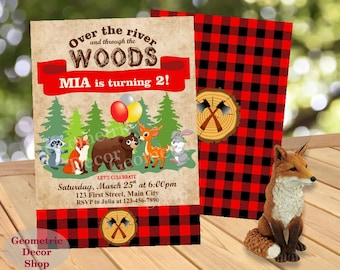 Buffalo Plaid Woodland Birthday Party Invitation Lumberjack Invite Rustic 1st Birthday Boy Girl Fox Deer Bunny Bear Red Lumber BDLJ22