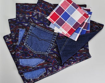 Reversible placemats of repurposed denim with coordinating red, white and blue napkins (Set of 4)