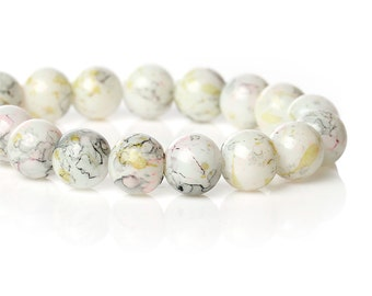 20 Off White Mottled Glass Beads | 10mm Glass Beads | 4023