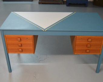 SOLD ---- Mid- Century Modern Desk / Uniquely refinished desk in blue, soft grey and yellow