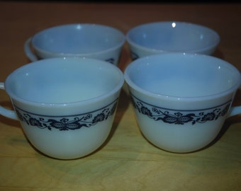 Vintage Pyrex Tea Cups Navy Blue Old Town Pattern  - Set of 4