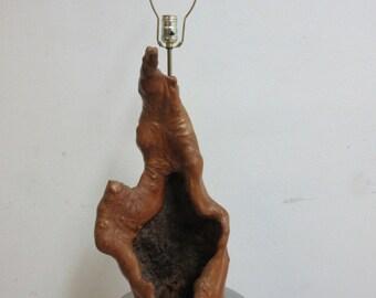 Vintage Mid Century Live Edge Free Form Hollow Log Table lamp Light Organic