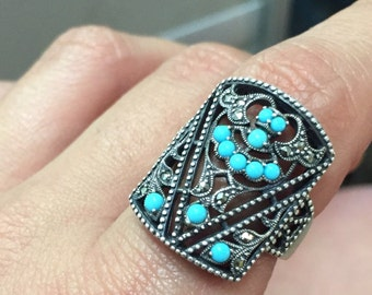 Vintage sterling silver seed turquoise marquesite filigree style ring size 9.25
