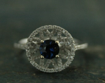 14K White Gold Blue Sapphire and Diamond Engagement Ring--Satellite Ring--Unique Diamond Ring--Unique Halo Setting Ring--Blue Engagement
