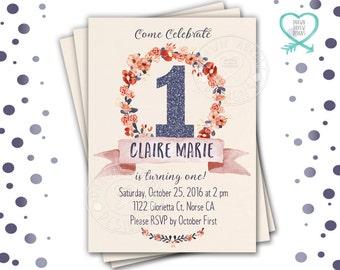 Wreath Birthday Invitation