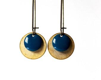 Earrings blue enamelled sequins canarde