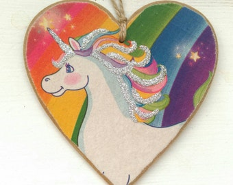 Rainbow Unicorn Hanging Heart, with sparkly highlights!