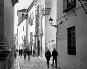 Down the street - Granada photographic print, Spain - Black and white - Travel - Tourism - Granada, Spain photographic film.