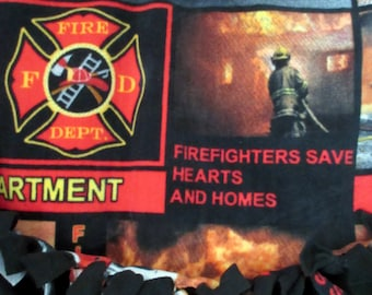 Firefighters ~ Unsung Heroes ~ No Sew Hand Tied Blanket Made From Licensed Fabric