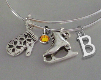 Mitten / Ice Skate CHRISTMAS Bangle W Birthstone & Initial - Adjustable BANGLE -Personalize Your Bangle/ Bracelet  Gift  Under 20  Usa  W1