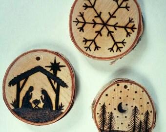 Woodburned Christmas ornament - Custom woodburning - nativity scene - snowflake - snowy night