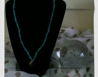 Aqua beaded neck with vintage Swarovski Crystal pendant