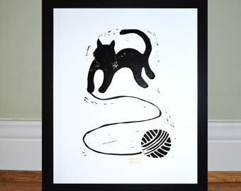 Black Cat with ball of wool - Framed Lino Print