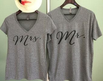 Mr Mrs Shirts, Mr and Mrs tshirts, Honeymoon tshirts, Hubby Wifey shirts, Wifey Hubby Shirts, Hubby Wifey Tshirt set, Matching Couple Shirts