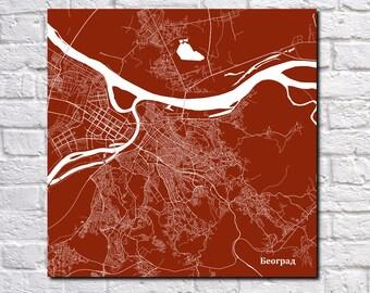 Belgrade Street Map Print Map of Belgrade City Street Map Serbia Poster Wall Art 7117S