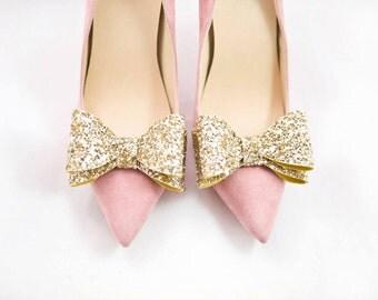 Glitter Gold 3D Bows Shoe Clips Bridal Wedding Shoe Accessories Mififi Shoe Clips