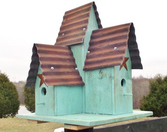 Turquoise Blue LARGE Triple Bird House Repurposed wood Old Repurposed Tin with Rusty Barn Star Hand Made Bird House